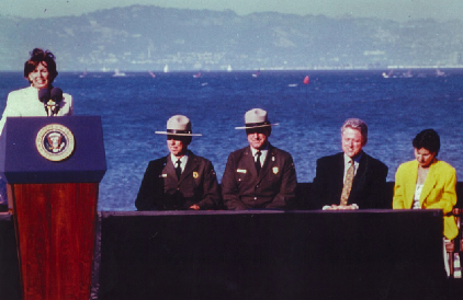 Nancy Pelosi and President Clinton at the Presidio in June 1996, supporting the Presidio Trust Act