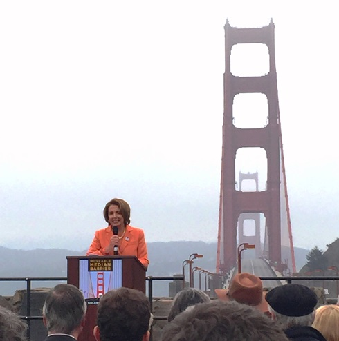 Democratic Leader Nancy Pelosi delivered remarks at the ribbon cutting ceremony celebrating the new movable median barrier installed on the Golden Gate Bridge, which enhances safety for travelers and bridge workers.