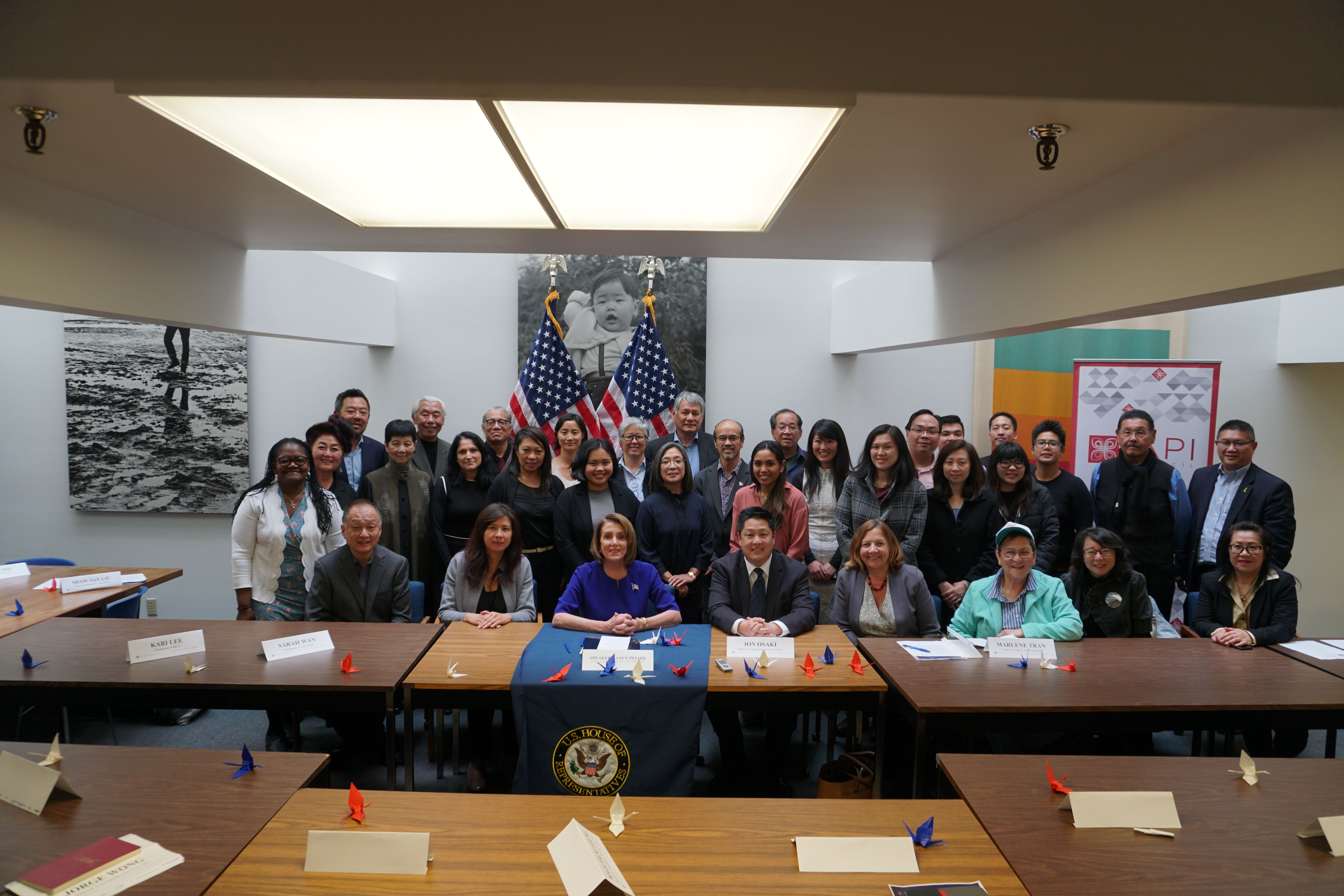 Congresswoman Nancy Pelosi hosts an AAPI roundtable discussion on the census, comprehensive immigration reform, and healthcare, joined by members of the San Francisco Asian Pacific Islander Council.