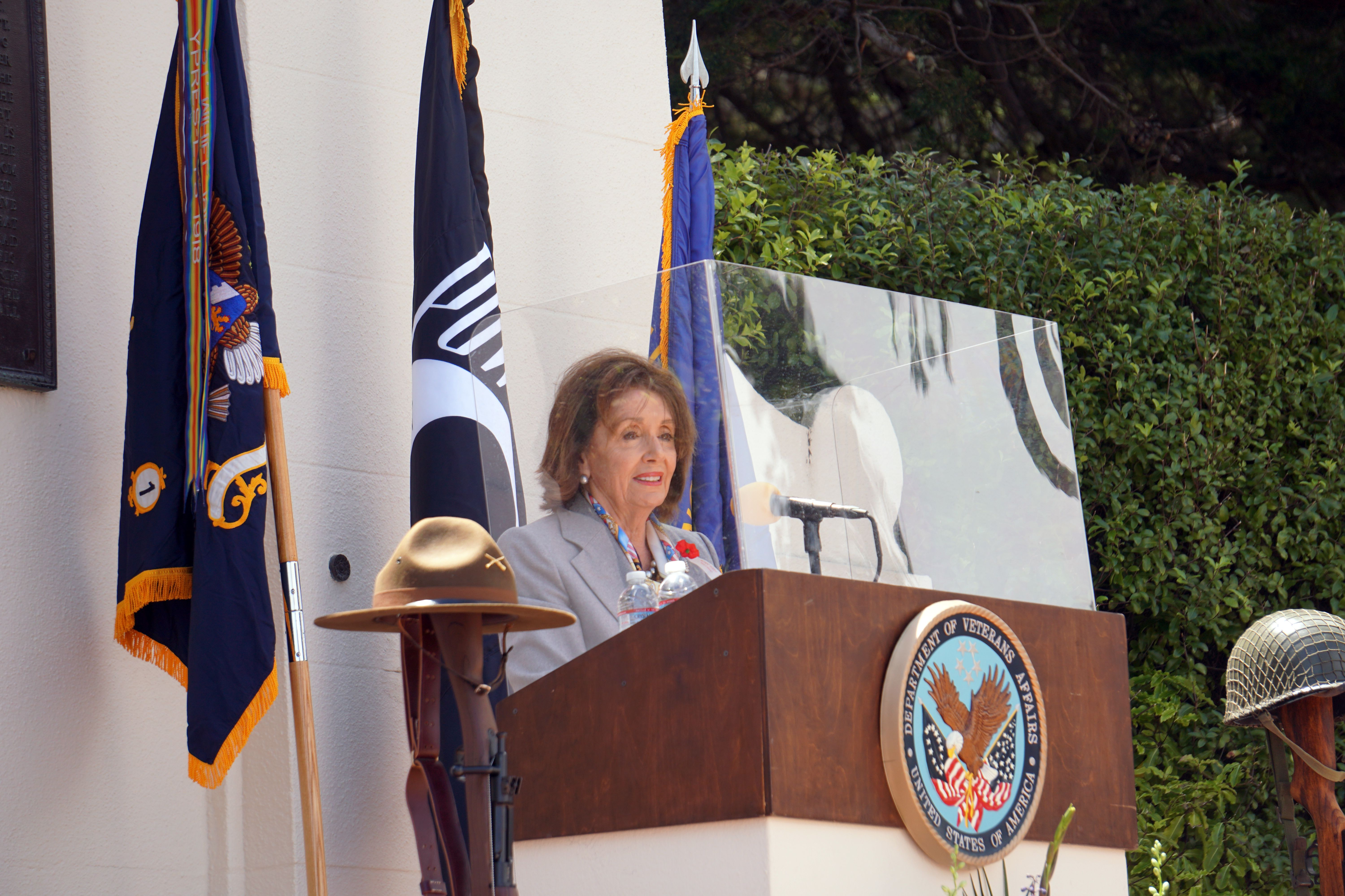 Congresswoman Nancy Pelosi participates in a Memorial Day commemoration at the Presidio National Cemetery with California State Assemblymember David Chiu and San Francisco Mayor London Breed to honor the men and women who sacrificed to keep America safe.