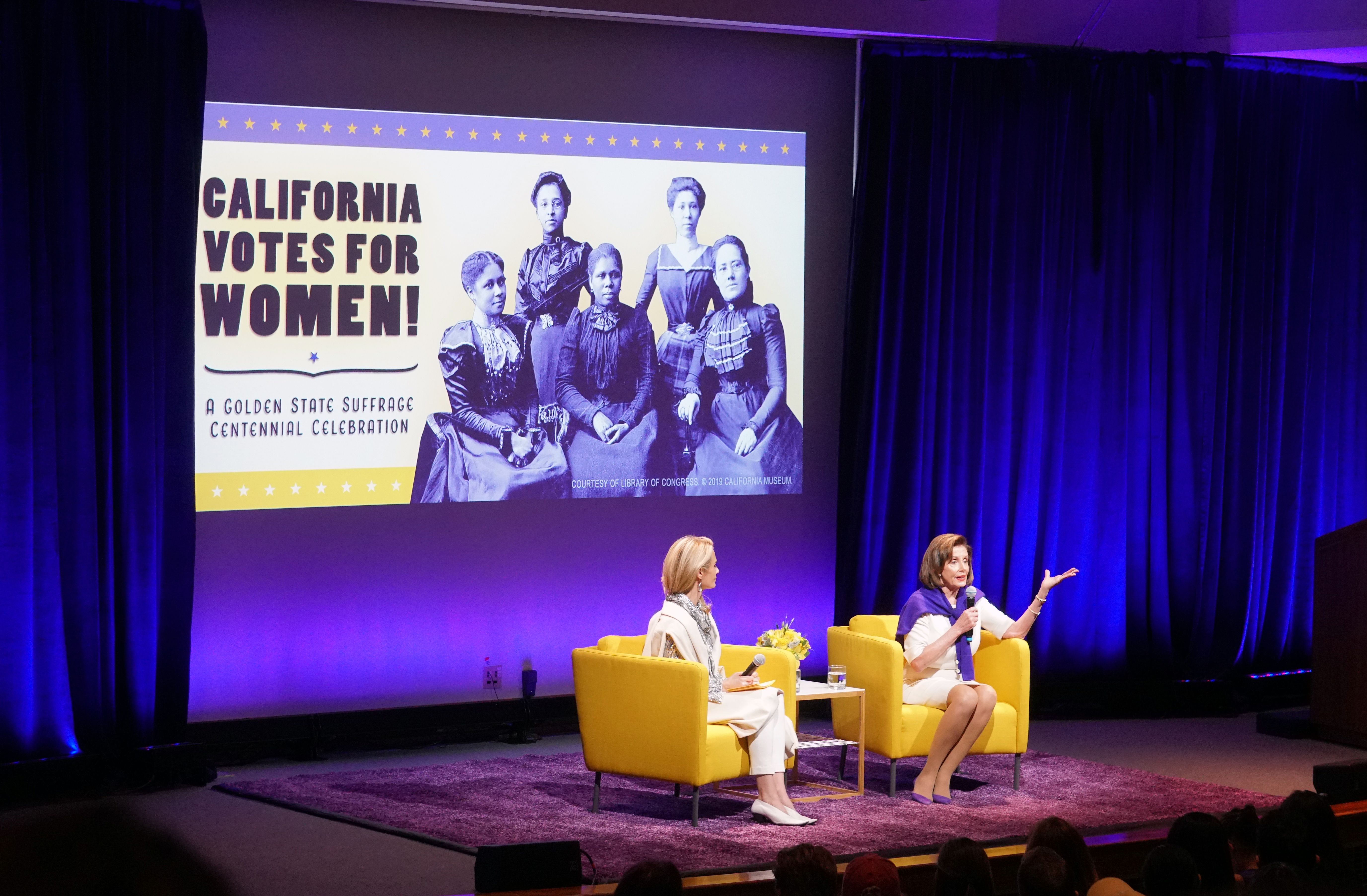 Congresswoman Nancy Pelosi participates in a moderated conversation with California First Partner Jennifer Siebel Newsom for a discussion on the women's suffrage movement in California.